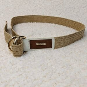 Michael Kors Stretch Straw Saffiano D Ring Belt